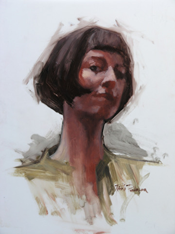 "portrait of Felicia Forte by Robert Paulmenn Oil ~ 14"" x 11"""