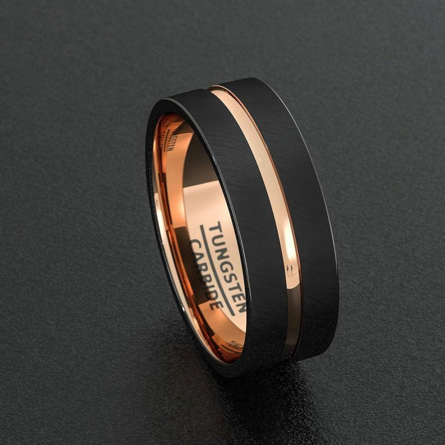 Photo Gallery Of Black And Rose Gold Mens Wedding Bands