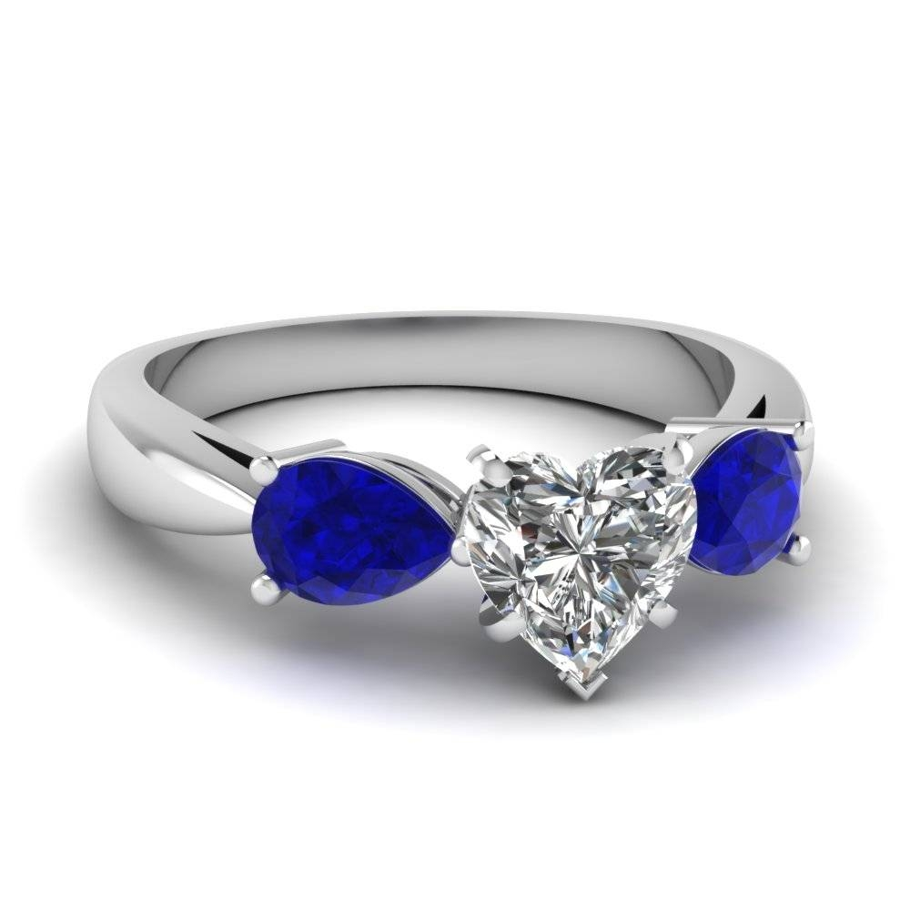 2018 Latest Blue Heart Engagement Rings