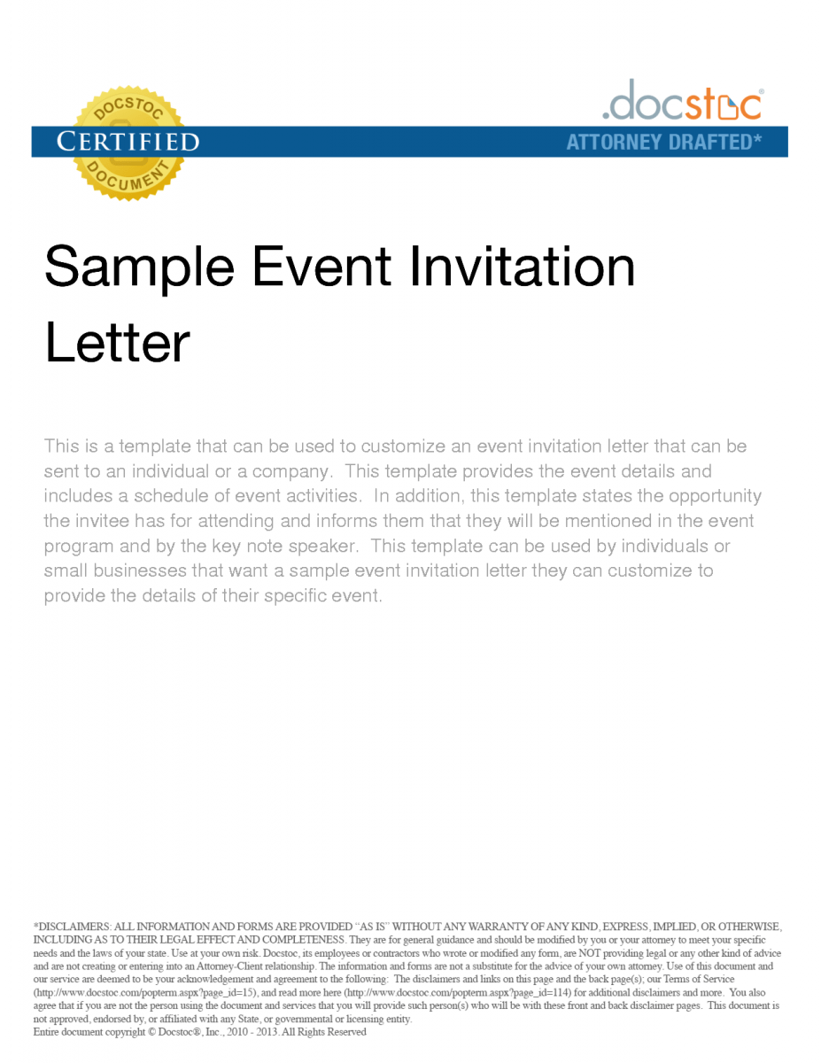 bussiness event invitation letter