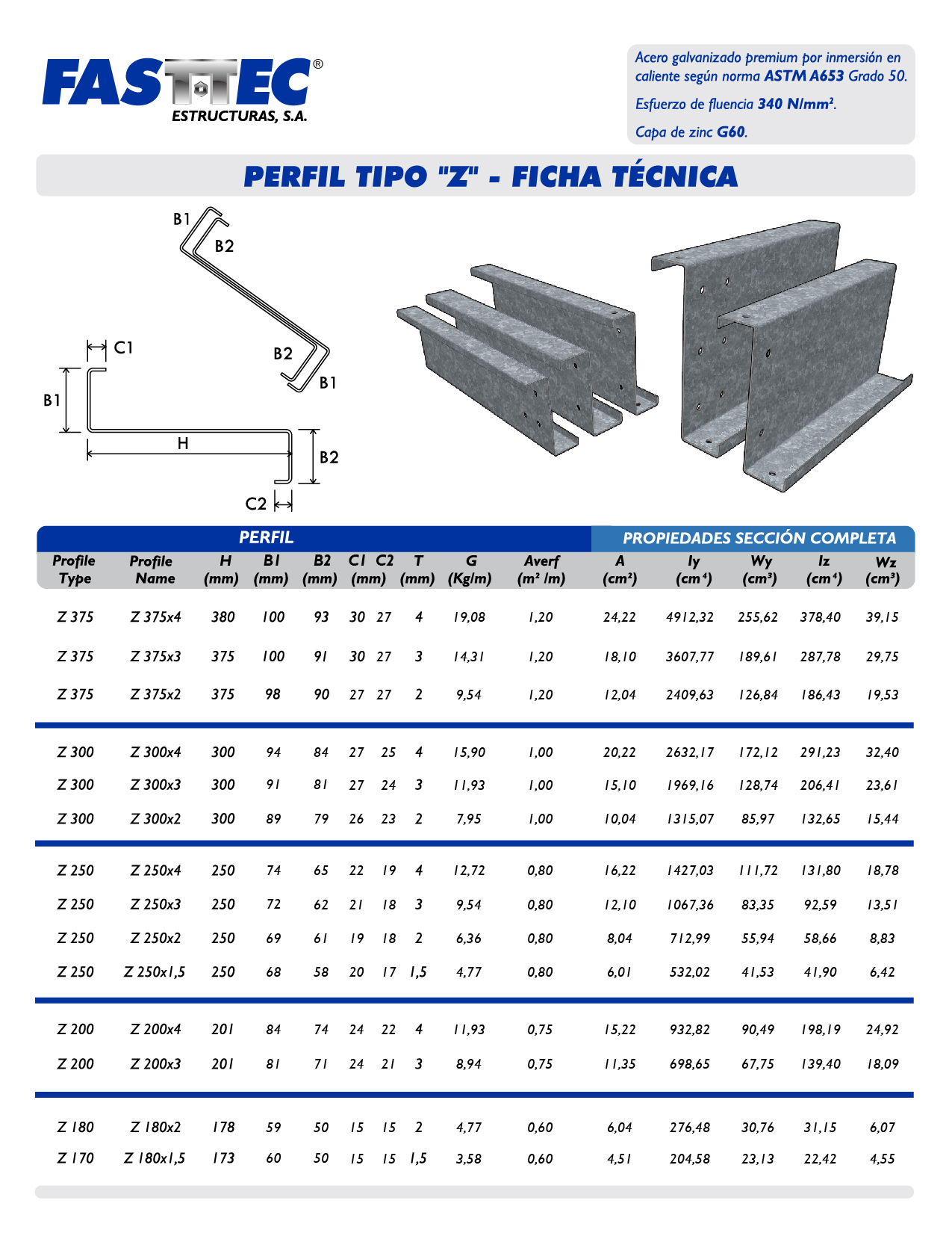Perfil Z, perfiles estructurales, perfil de acero galvanizado