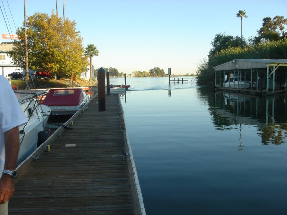 Standing on the transient dock looking back at the narrow entrance to the marina