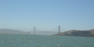 The Golden Gate bridge to port
