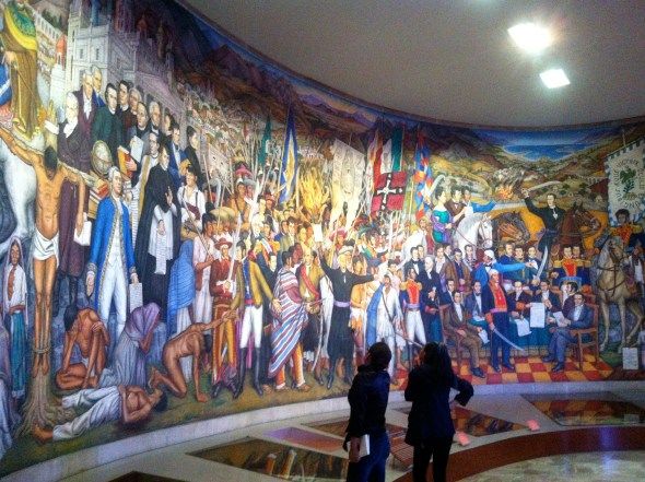 Huge mural depicting historic events in Mexico's past