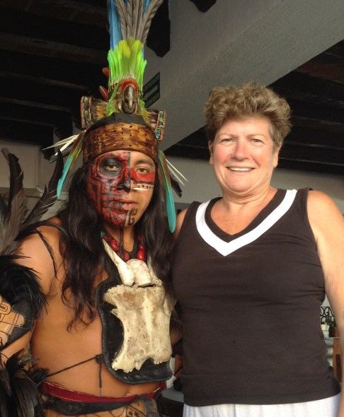 Posing with the Mayan dancer