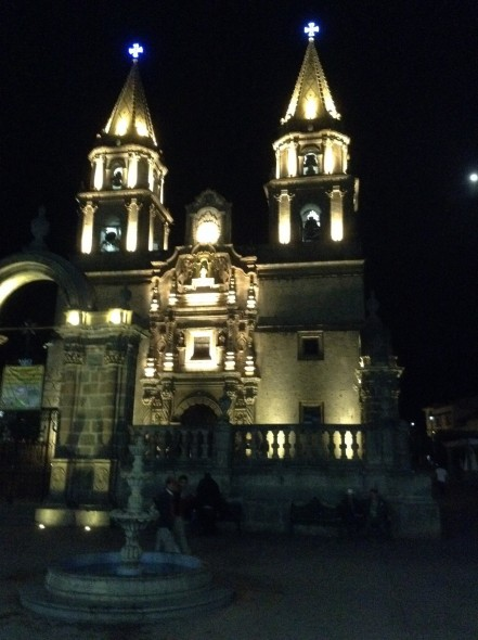 Talpa cathedral by night