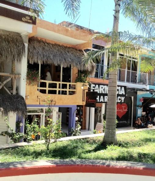 Stores around the tiny plaza