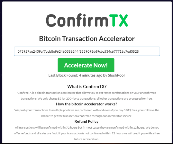 Speed up bitcoin transaction