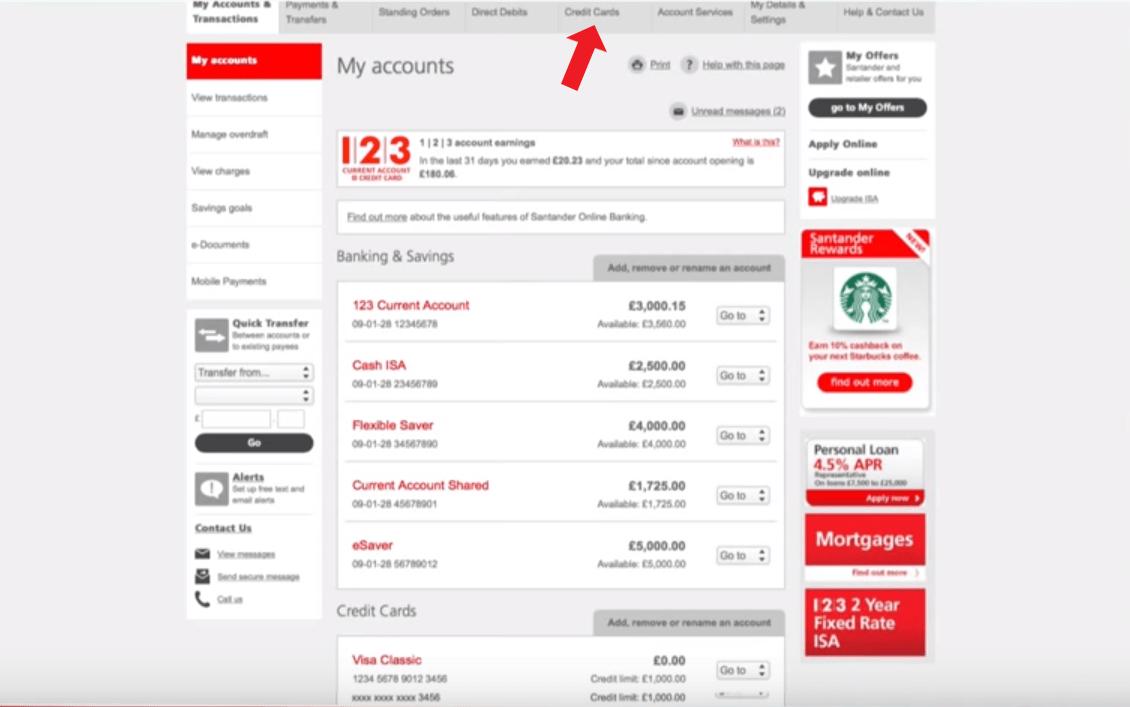 Santander Online Personal Banking Log