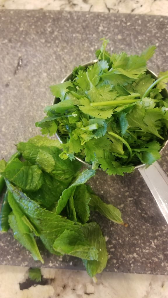 cut cilantro and mint leaves for tikka