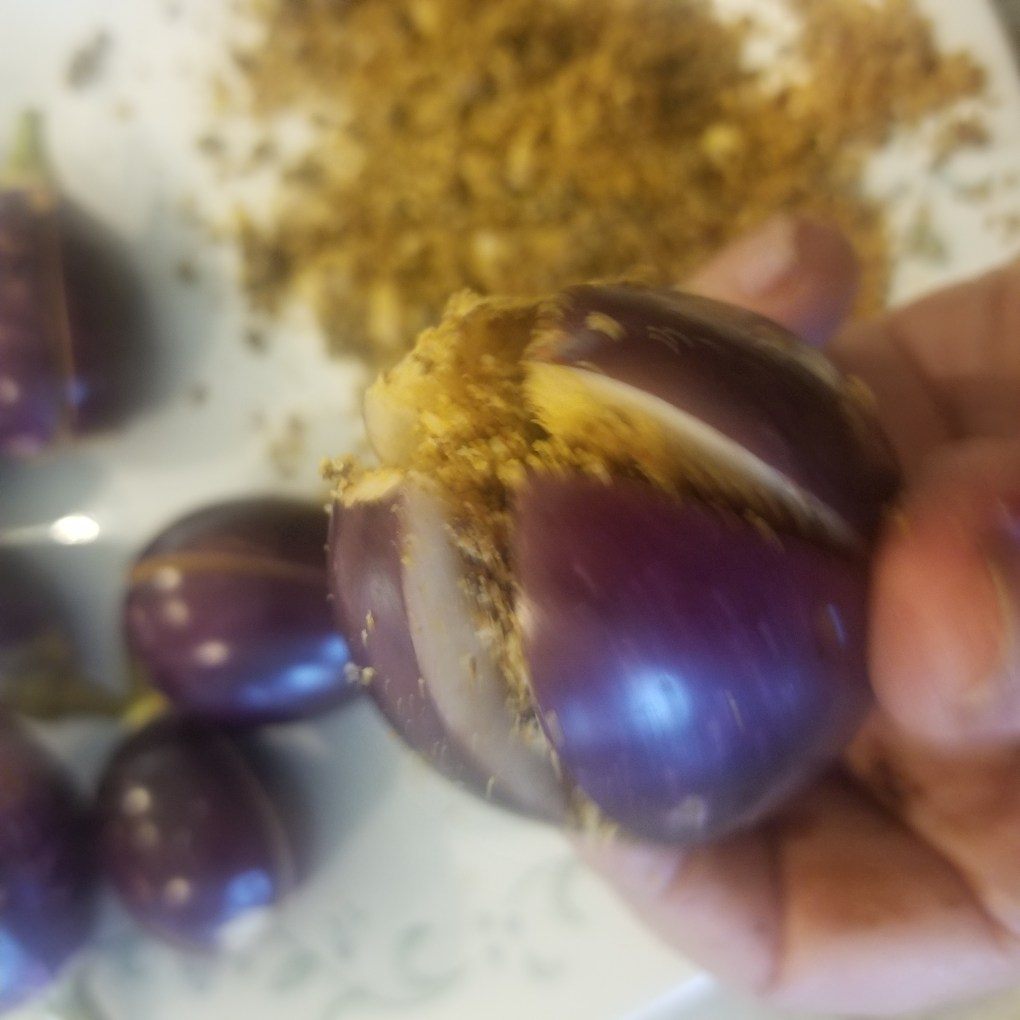 stuff t he eggplant with the mixture