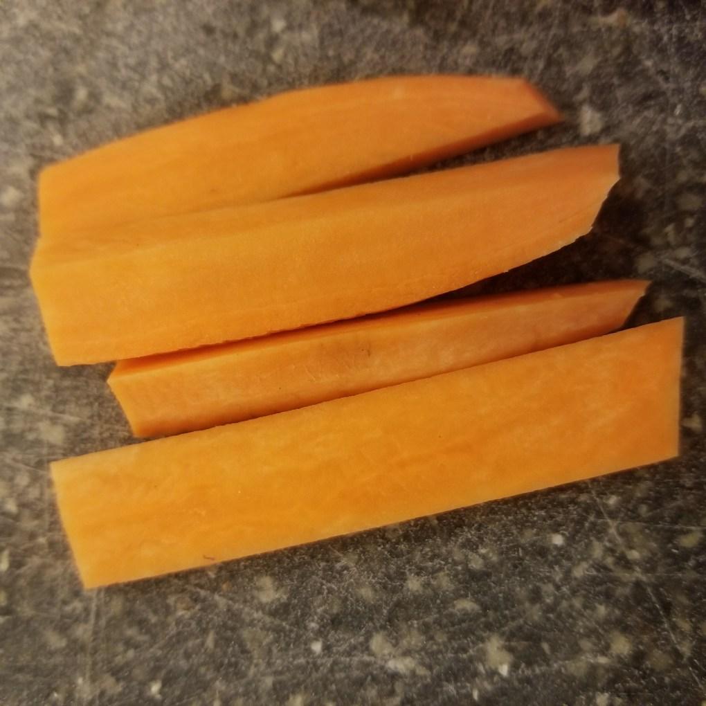 sweet pototo cut lengthwise