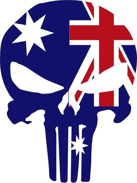 AUSTRALIAN FLAG PUNISHER DECAL STICKER 02