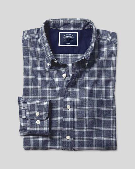 Button-Down Collar Non-Iron Twill Check Shirt - Navy & White
