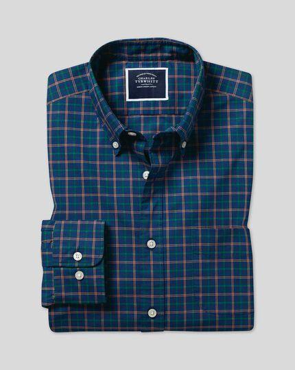Button-Down Collar Non-Iron Stretch Poplin Multi Check Shirt - Navy