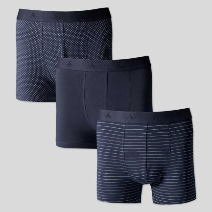 3 Pack Cotton Stretch Jersey Trunks - Navy Multi