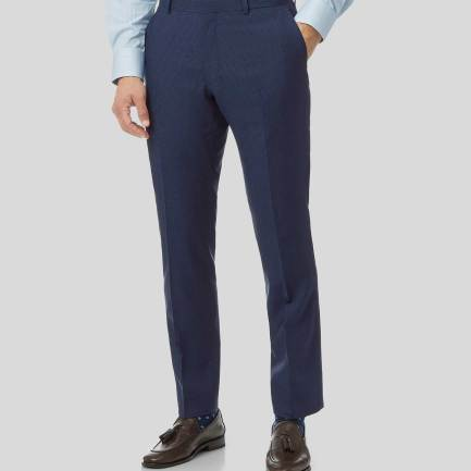Mini Grid Suit Trousers - Mid Blue