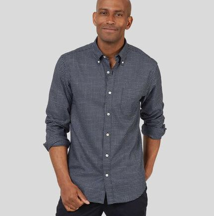 Button-Down Collar Non-Iron Twill Gingham Shirt - Blue & Navy