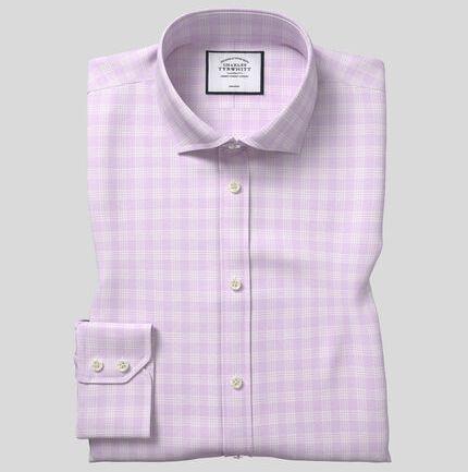 Cutaway Collar Non-Iron Prince of Wales Check Shirt - Lilac