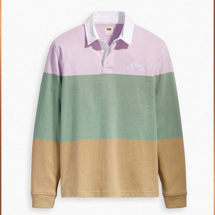 Multicolor Rugby Long Sleeve Polo