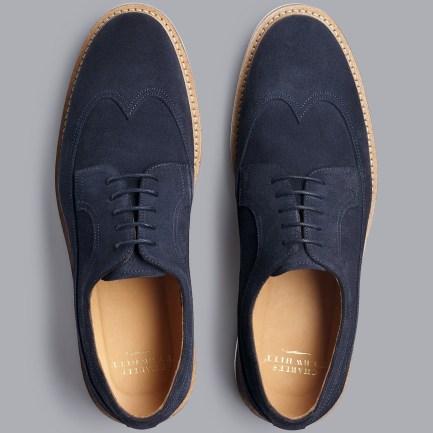 Suede Wingtip Derby Shoes - Navy