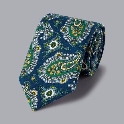 Wool Paisley Italian Luxury Tie - Navy