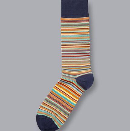 Jacquard Stripe Socks - Orange