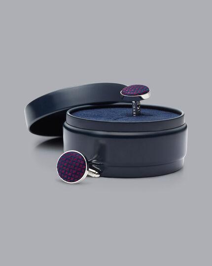 Silk Round Cufflinks - Berry