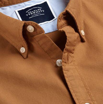 Button-Down Collar Washed Oxford Shirt - Dark Yellow