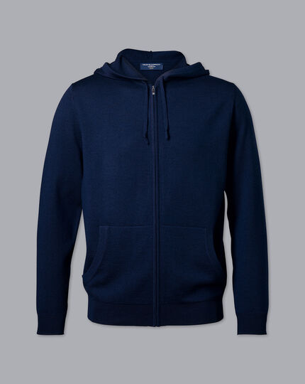 Merino Zip Through Hoodie - Navy