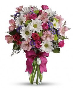 Pink Roses and White Daisies Floral Arrangement