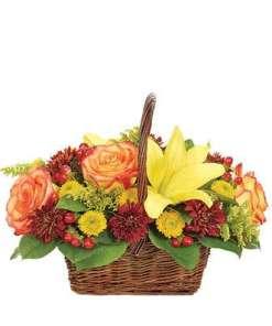 Fall Harvest Woven Basket Bouquet