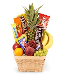 Fresh Fruit & Chocolate Candy Birthday Gift Basket