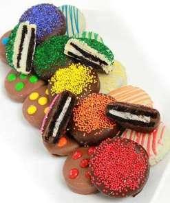Rainbow Chocolate Covered Oreo Cookies