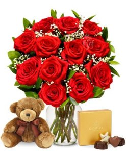 One Dozen Long Stemmed Red Roses with Godiva Chocolates & Bear