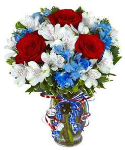 Red White and Blue Flower Bouquet