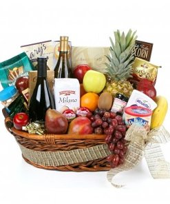 Gourmet Extravagance Fruit and Wine Gift Basket