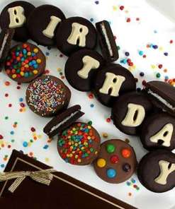 Chocolate Covered Birthday Oreo Cookies