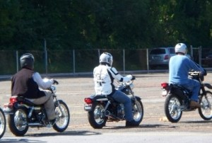 Motorcyclists train during motorcycle safety program training