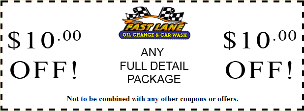 $10.00 Full Detail Coupon - for Fast Lane Oil Change and Car Wash in Brewster, NY
