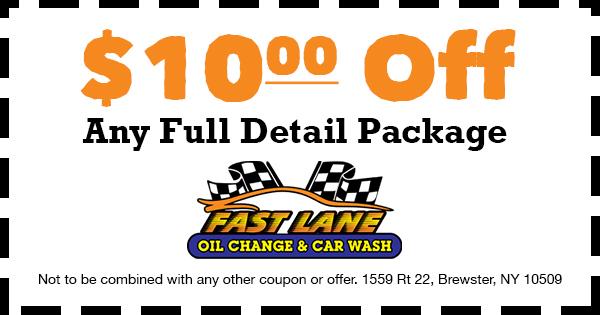 $10 Car Detail Coupon - Fast Lane Oil Change and Car Wash