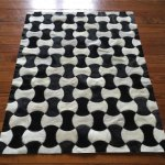 New Black And White Geometric Pattern Cowhide Patchwork