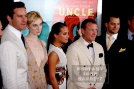 ARMIE HAMMER,ELIZABETH DEBICKI,ALICA VICANDER,GUY RITCHIE,HENRY CAVILL at Premiere of ''The Man from U.N.C.LE.'' at Ziegfeld Theatre 8-10-2015 John Barrett/Globe Photos 2015