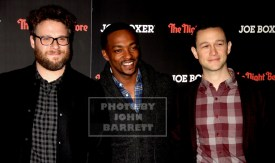 SETH ROGEN,ANTHONY MACKIE,JOSEPH GORDON-LEVITT at NY Screening of ''The Night Before'' at Landmark sunshine Theatre E.Houston st 11-16-2015 John Barrett/Globe Photos 2015