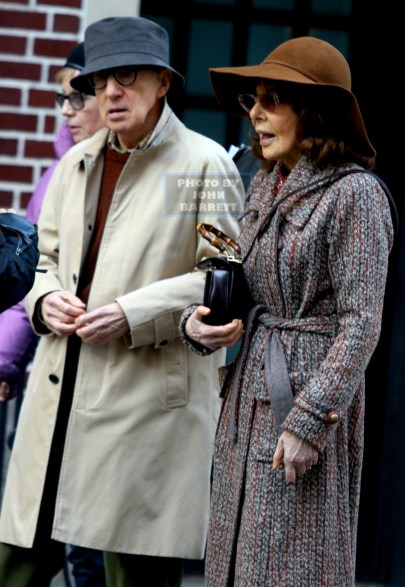 WOODY ALLEN,ELAINE MAY actress,Writer,Director on set of Amazon TV Series Woody Allen Untitled Project at East 69st Lexington Ave 3-7-16 John Barrett/Globe Photos 2016
