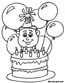7 Years Boy With Birthday Cake And Balloon Coloring Pages Free Kids Coloring Pages Printable