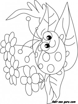 Print Out Happy Face Ladybug Coloring Page Printable