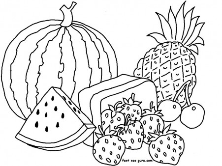 Print Out Watermelon And Pineapple Coloring Pages Free Printable Coloring Pages For Kids