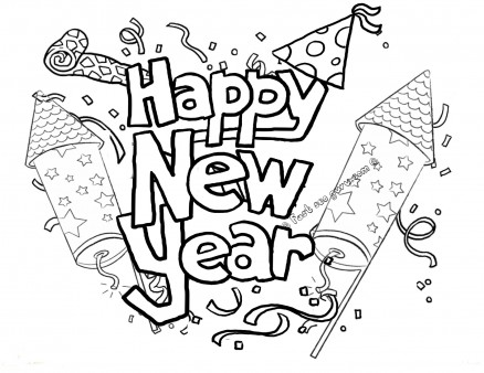 printable happy new year fireworks coloring pages printable