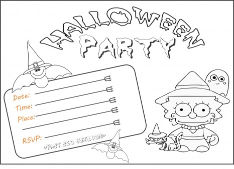 Free Kids Halloween Party Invitations Printable Coloring